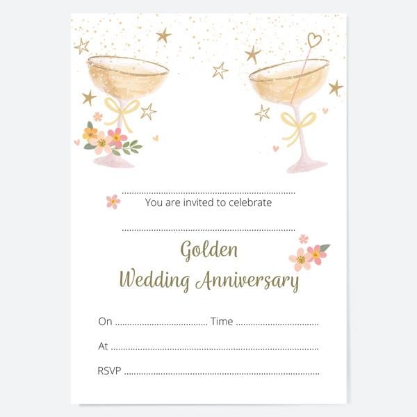 50th-wedding-anniversary-invitations-champagne-bubbles