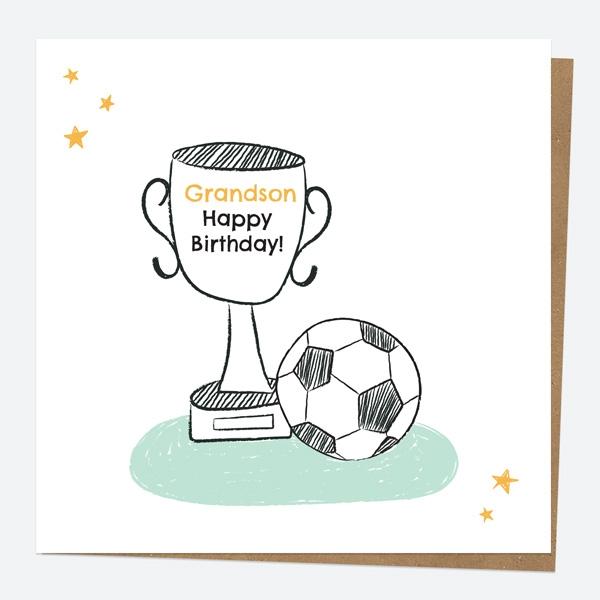 Grandson Birthday Card Football Trophy Grandson