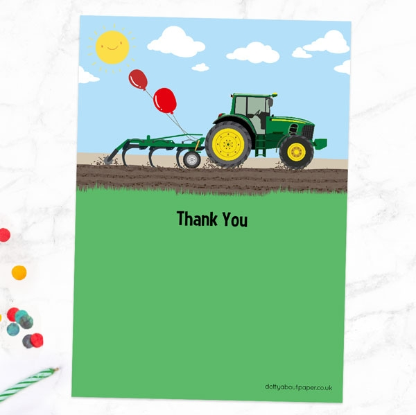 Ready to Write Kids Thank You Cards - Green Farm Tractor - Pack of 10