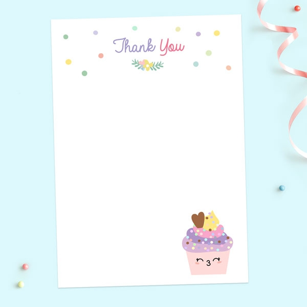 Ready to Write Kids Thank You Cards - Happy Cupcakes - Pack of 10