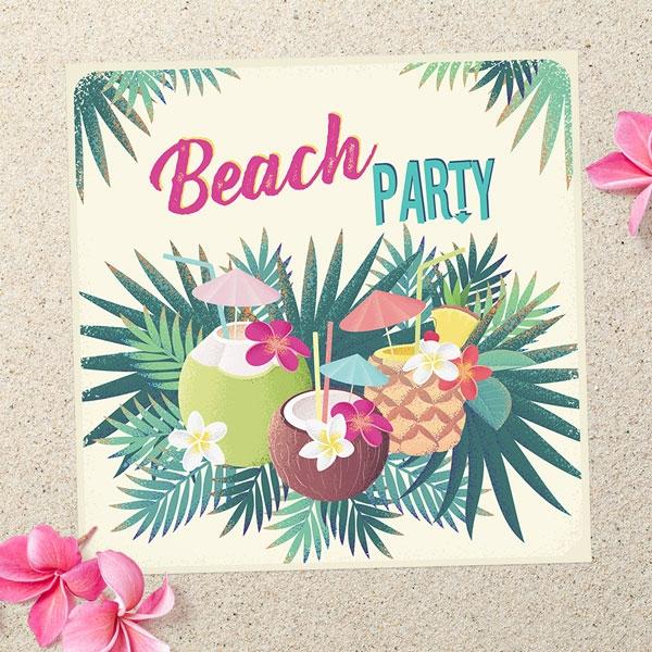 Party Invitations - Hawaiian Beach - Pack of 10