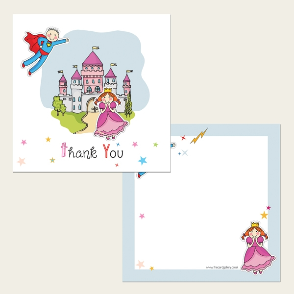 Ready to Write Kids Thank You Cards - Princess and Superhero Party - Pack of 10