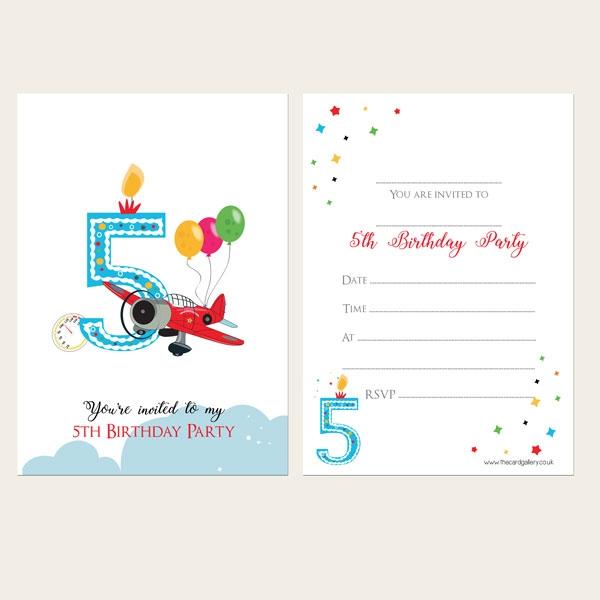 Ready To Write Kids Invitations - Boys 5th Birthday Aeroplane