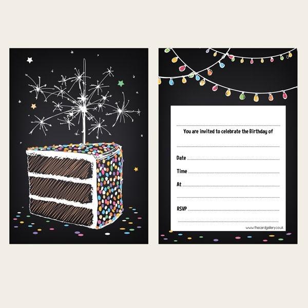 Ready To Write Birthday Invitations - Sparkly Birthday Cake - Pack of 10