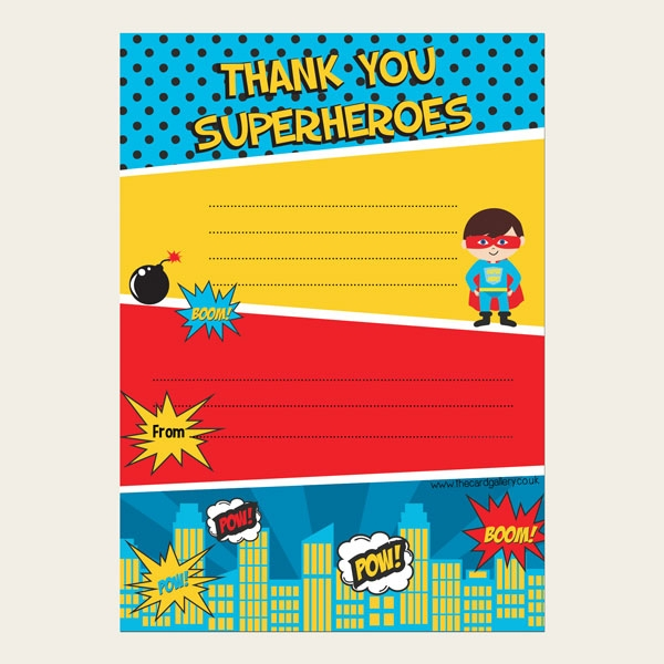 Ready to Write Kids Thank You Cards - Comic Superhero - Pack of 10