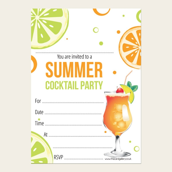 Party Invitations - Summer Cocktail - Pack of 10