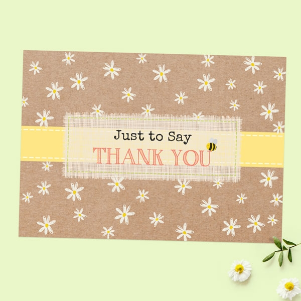 Ready to Write Thank You Cards - Kraft Daisies - Pack of 10