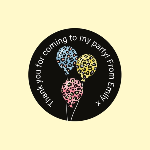 Leopard Print Balloons - Sweet Bag Stickers - Pack of 35