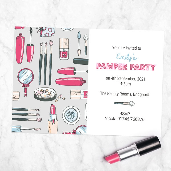 Kids Birthday Invitations - Make Up Pamper Party - Pack of 10