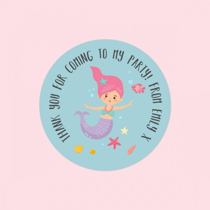 Mermaid Party - Sweet Bag Stickers - Pack of 35