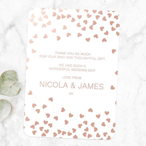 Metallic Hearts - Foil Wedding Thank You Cards