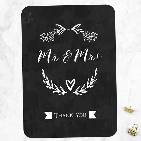 Mr & Mrs Floral Chalkboard - Wedding Thank You Cards