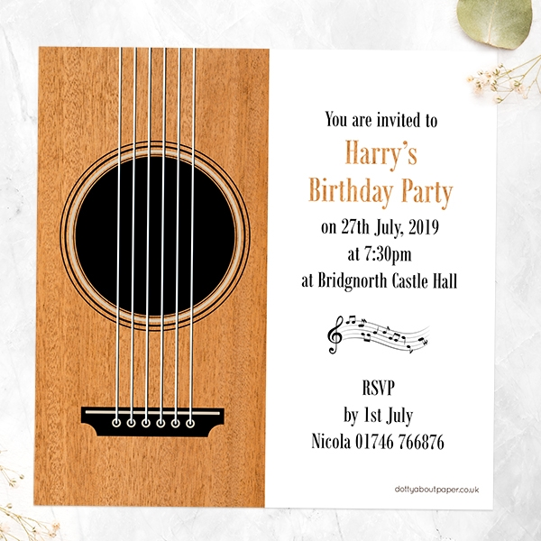 Birthday Invitations - Acoustic Guitar - Pack of 10
