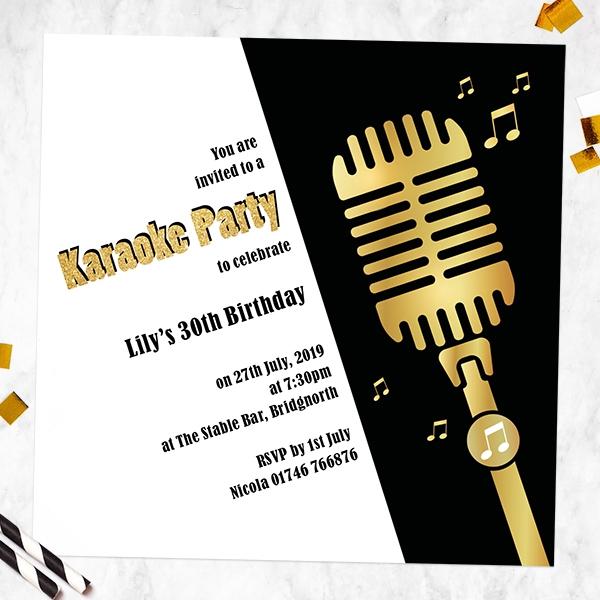 Birthday Invitations - Karaoke Party - Pack of 10