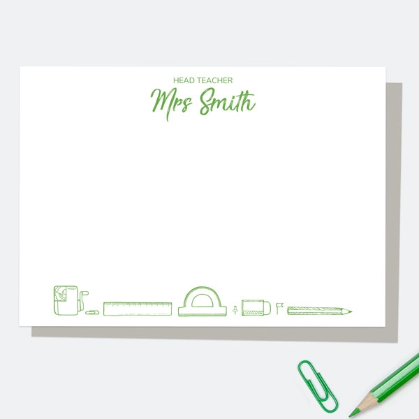 neat-stationery-collage-green-personalised-a6-note-card
