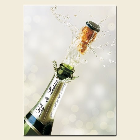 30th Wedding Anniversary Invitations - Personalised Champagne Bottle