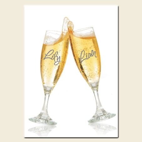 30th Wedding Anniversary Invitations - Personalised Champagne Glasses