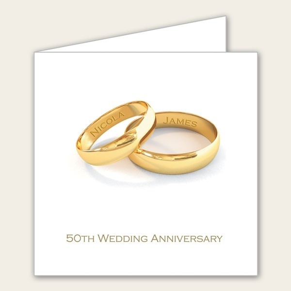 50th Wedding Anniversary Invitations - Personalised Gold Rings