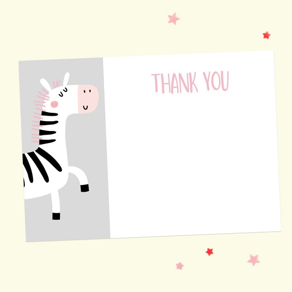 Ready to Write Kids Thank You Cards - Pink Zebra - Pack of 10