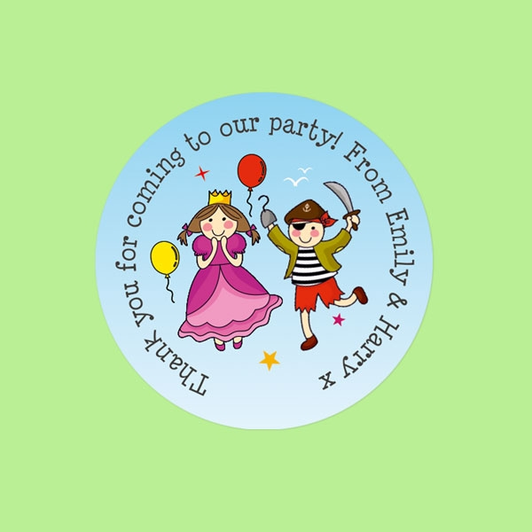 Pirate and Princess Ship - Sweet Bag Stickers - Pack of 35