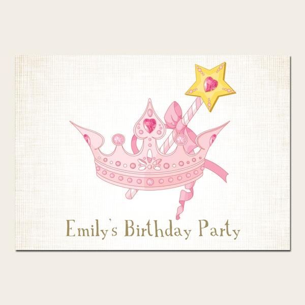 Personalised Kids Birthday Invitations - Princess Tiara - Pack of 10