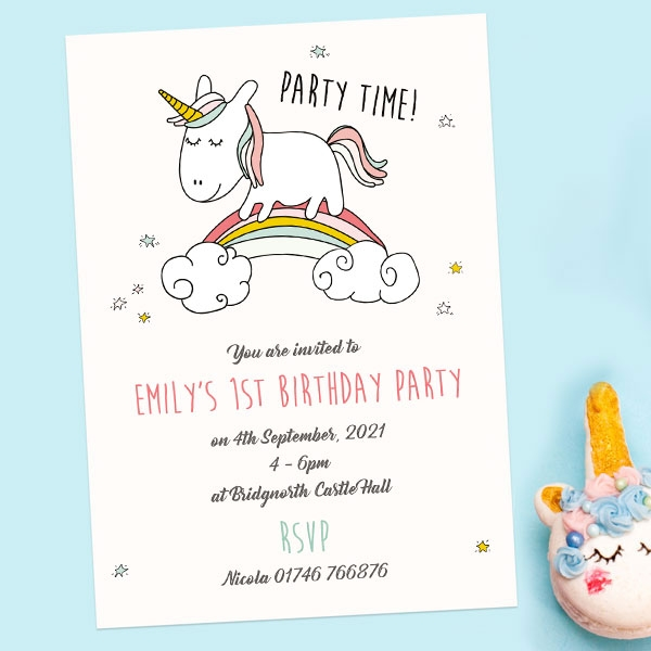 1st Birthday Invitations - Rainbow Unicorn - Pack of 10