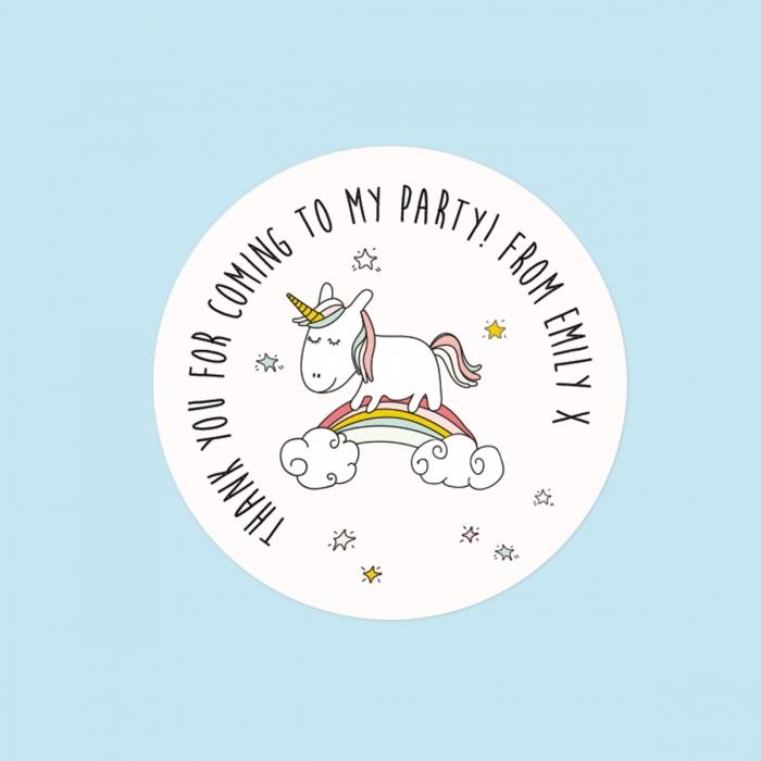 Rainbow Unicorn - Sweet Bag Stickers - Pack of 35