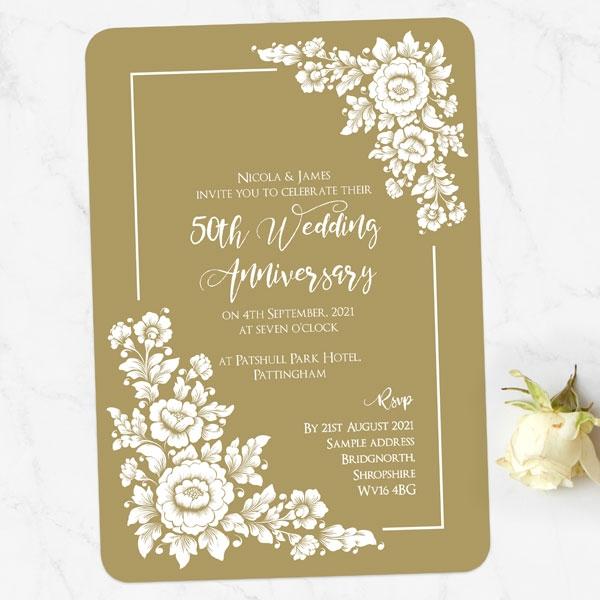 50th Wedding Anniversary Invitations - Romantic Flowers