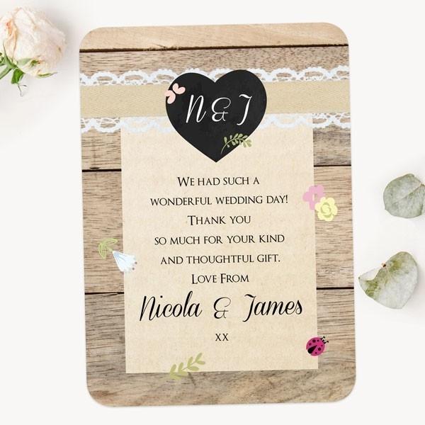 Rustic Chalkboard Flowers - Wedding Thank You Cards