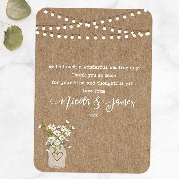 Rustic Mason Jar Flowers - Wedding Thank You Cards