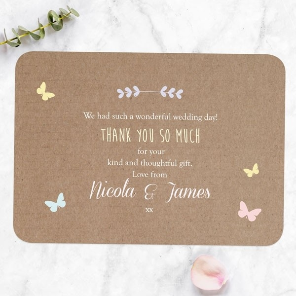 Rustic Pastel Butterflies - Wedding Thank You Cards