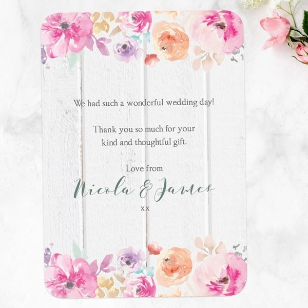 Rustic Pastel Flowers - Wedding Thank You Cards