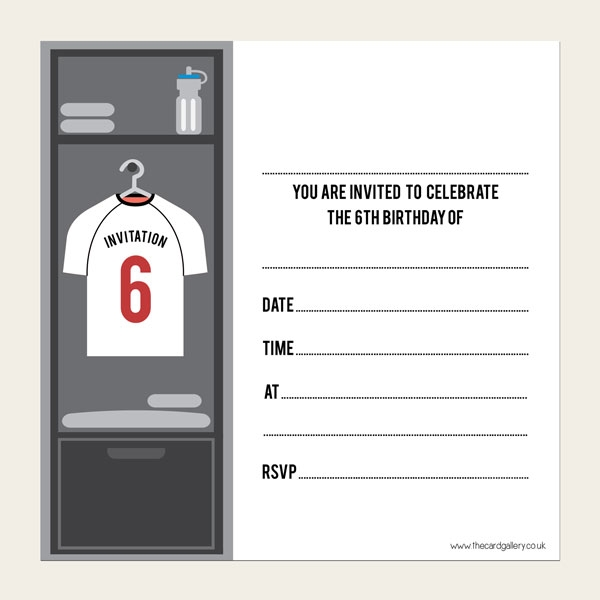 Ready To Write Kids Birthday Invitations - Football Shirt - Select Your Age - Pack of 10
