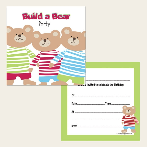 Ready To Write Kids Party Invitations - Build a Bear