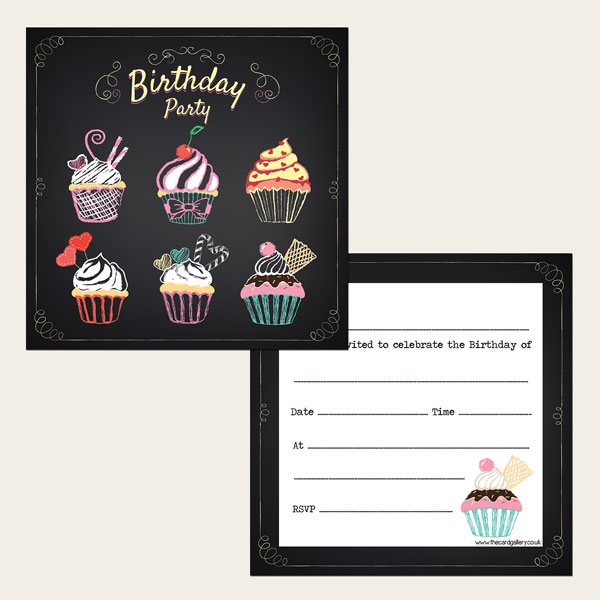 Ready To Write Birthday Invitations - Chalkboard Cupcake Party - Pack of 10