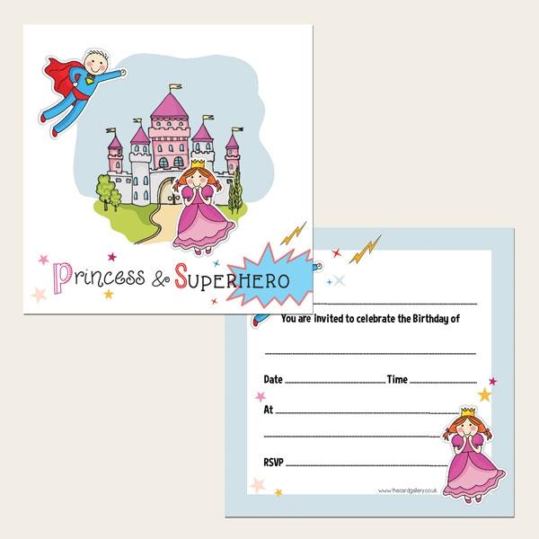 Ready To Write Kids Birthday Invitations - Princess and Superhero Party - Pack of 10