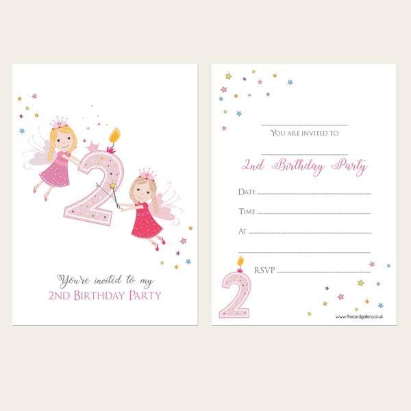 Ready To Write Kids Invitations - Girls 2nd Birthday Fairy - Pack of 10