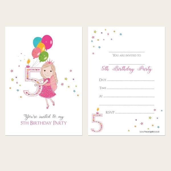 Ready To Write Kids Invitations - Girls 5th Birthday Fairy - Pack of 10