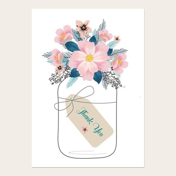 Thank You Cards - Pink Mason Jar Flowers
