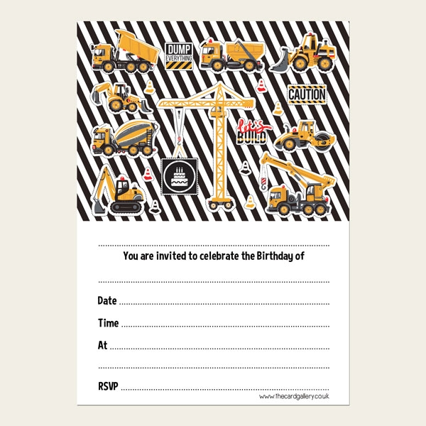 Ready To Write Kids Birthday Invitations - Cool Construction - Pack of 10