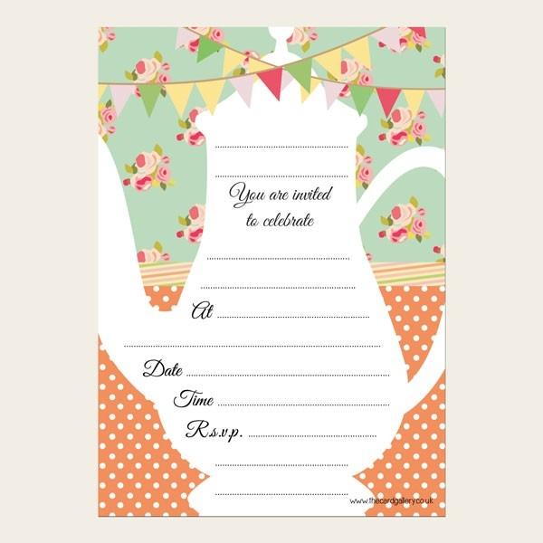 Birthday Invitations - Tea Pot - Pack of 10