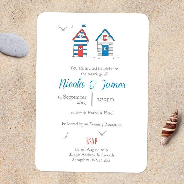 Seaside Beach Huts - Wedding Invitations