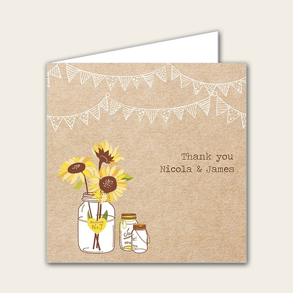 Rustic Sunflowers - Wedding Thank You Cards