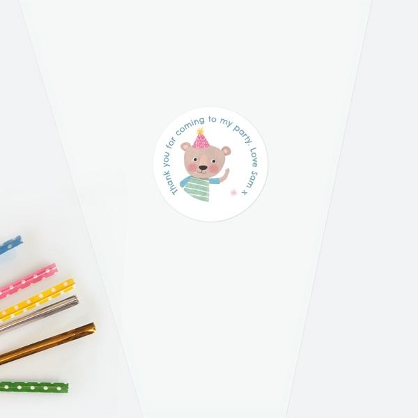 dotty-party-bear-sweet-cone-bag-sticker