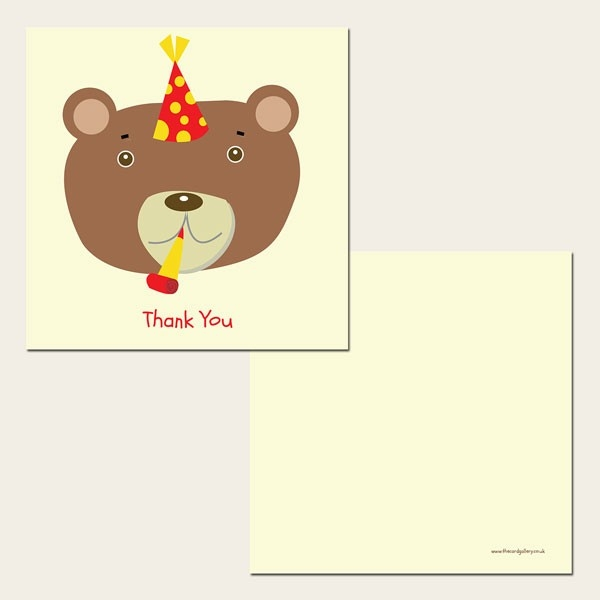 Ready to Write Kids Thank You Cards - Party Teddy Bear - Pack of 10