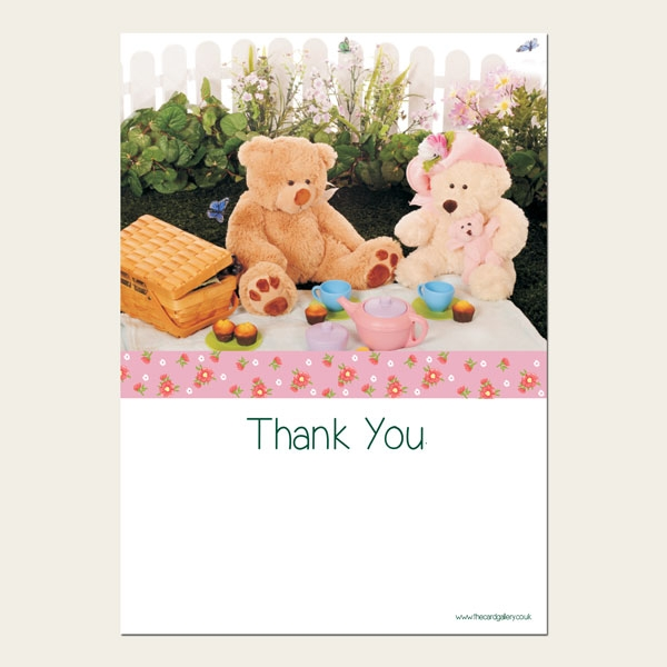 Ready to Write Kids Thank You Cards - Teddy Bears Picnic - Pack of 10