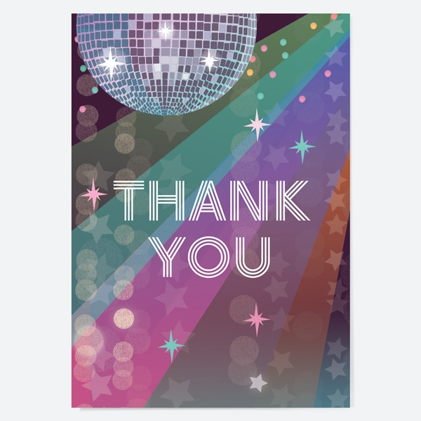 Ready to Write Kids Thank You Cards Glitter Ball Disco Party