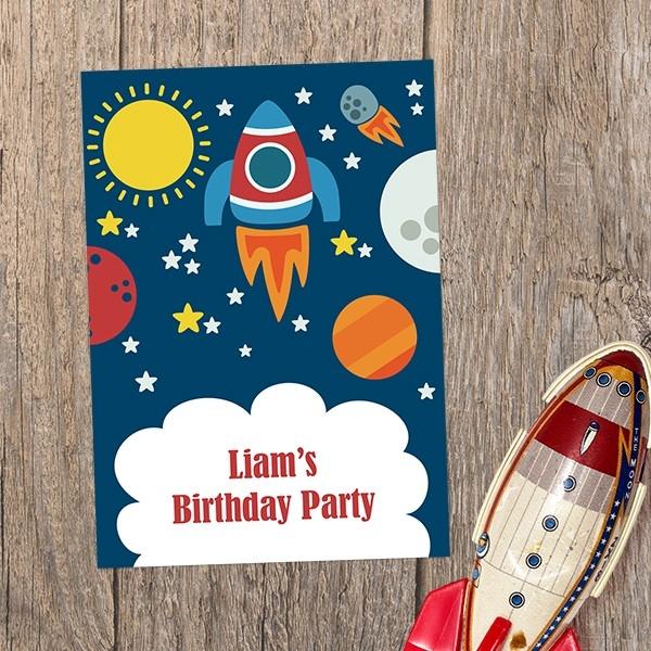 Personalised Kids Birthday Invitations - Rocket - Pack of 10
