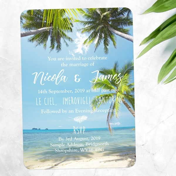Tropical Beach Scene - Wedding Invitations