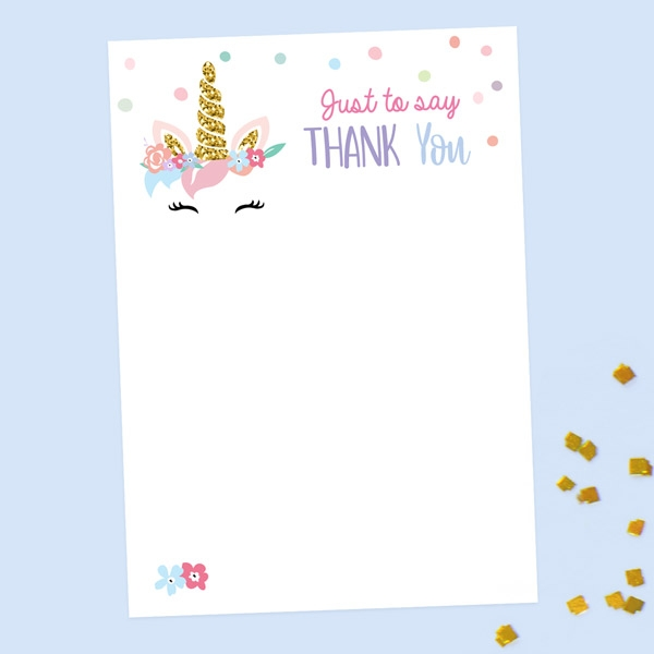 Ready to Write Kids Thank You Cards - Unicorn Cake - Pack of 10